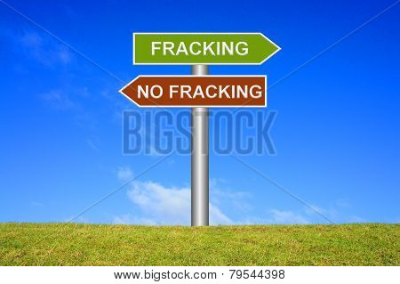 Sign showing fracking no fracking