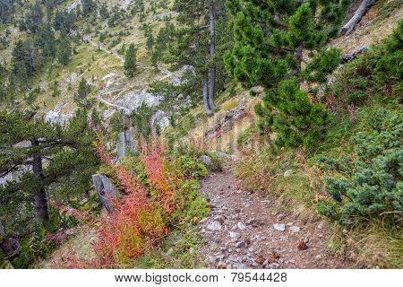 Trekking Path In Mountains In Greece