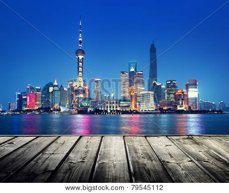 Shanghai skyline and wooden platform