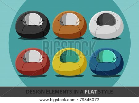 Beanbag in a flat style