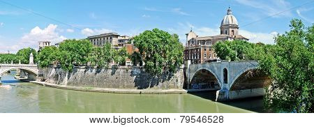 Tiber River And Rome City View On May 30, 2014