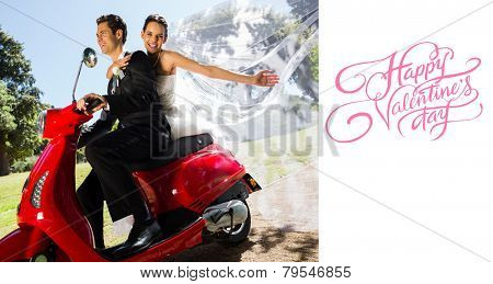 Newlywed couple enjoying scooter ride against happy valentines day