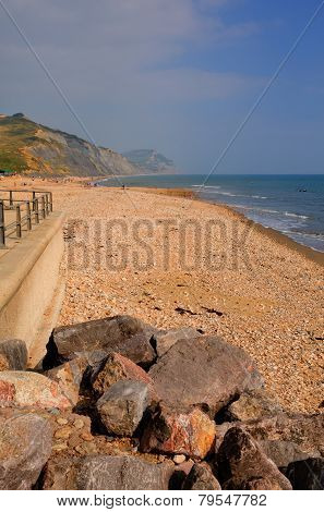Charmouth beach Dorset England UK with pebbles and shingle and coas