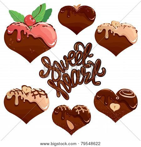 Set Of Chocolate Hearts In White And Dark Chocolate And Strawberry Glaze. Calligraphic Text Sweet He