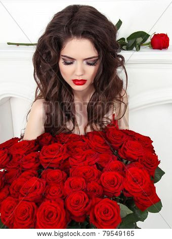 Attractive Pretty Woman With Red Roses Bouquet, Valentines Day. Luxury Life.