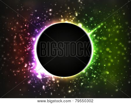 Dark planet, surrounded by bright and blurry stars. Rainbow colors are used.