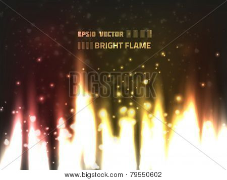 Abstract bright flame design with fire burning on dark background and blurry particles flying around