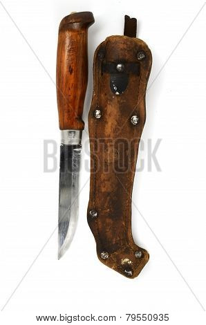 Traditional Finnish Knife Puukko And Sheath