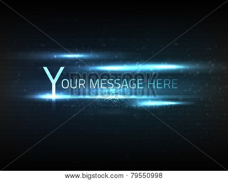 Vector abstract blue text effect with blurry dim particles and bright lights on black background with slight texture.