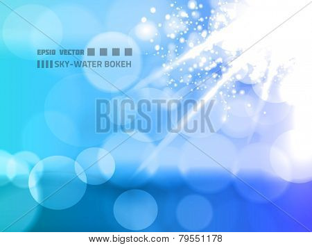 EPS10 vector abstract sky and water bokeh on background colored in blue tones; sun is shining from top-right corner