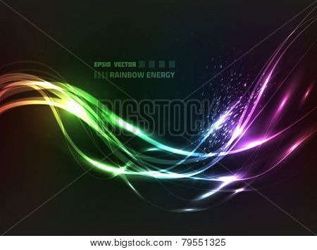 EPS10 vector abstract rainbow energy line design against dark background with slight texture; composition has bright lights and particles