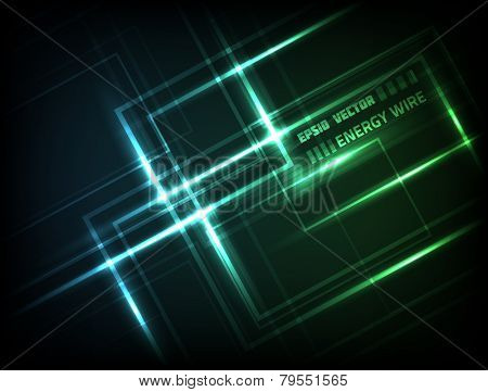 EPS10 vector abstract bright wire design against dark background; composition is colored green and blue