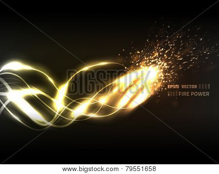 EPS10 vector abstract line of flame design against dark background; composition is colored in shades of yellow and orange