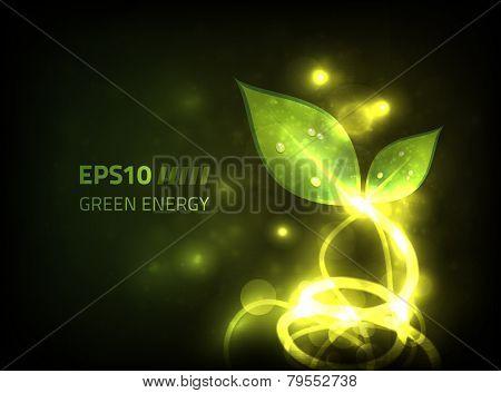 Green energy vector design against dark background