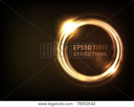 EPS10 vector orange frame design against dark background