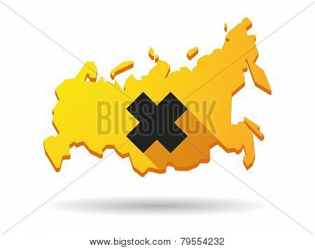 Long Shadow Russia Map Icon With An Irritating Substance Sign