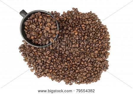 Top View Of Coffeebeans Filled In A Coffee Cup Isolated On White Background