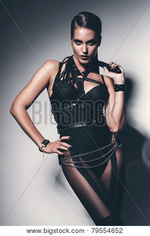 Hot Woman With Whip Around Neck