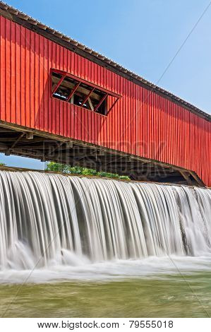Bridgeton Covered Bridge And Waterfall