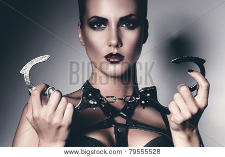 Portrait Of Woman With Handcuffs