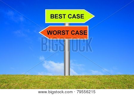 Sign showing best case or worst case
