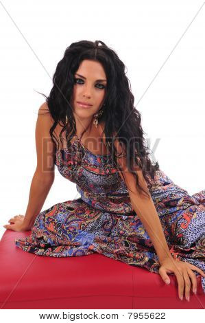 Sexy Woman Posing On Footstool