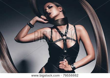 Woman In Black With Hair Around Neck