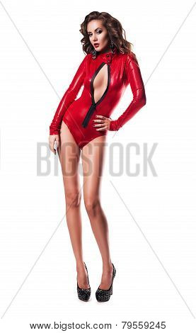 Sexy Woman With Decollete In Red Costume