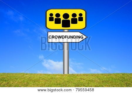 Sign with people showing crowdfunding