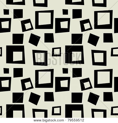 art black graphic geometric seamless pattern, square background with art deco ornament