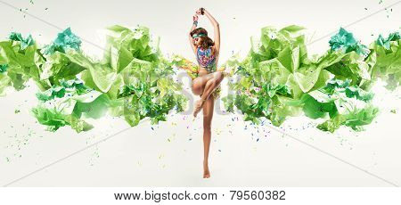 Hot Dancing Woman In Colourful Necklace And Paper