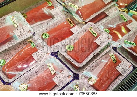Sashimi For Sale In A Fish Market