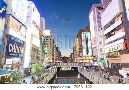 View Of Dotonbori Canal In Osaka, Japan