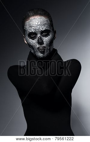 Bizarre Scary Woman With Skull