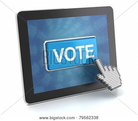 Clicking The Vote Button On A Digital Tablet, 3D Render