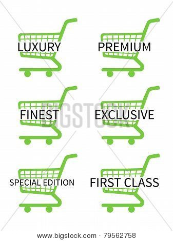 Green Shopping Cart Icons With Luxury Articles Texts