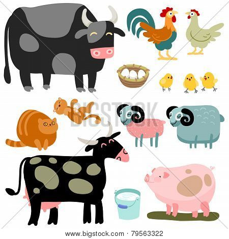 Cartoon Domestic Animals Set