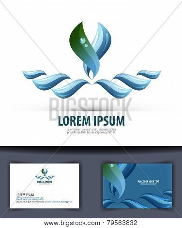 Water. Logo, icon, emblem, template, business card