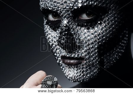 Sexy Creative Woman With Silver Rhinestones