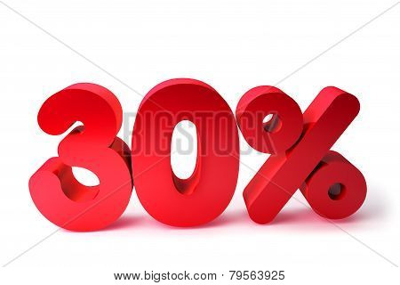 30% 3D Render Red Word Isolated in White Background