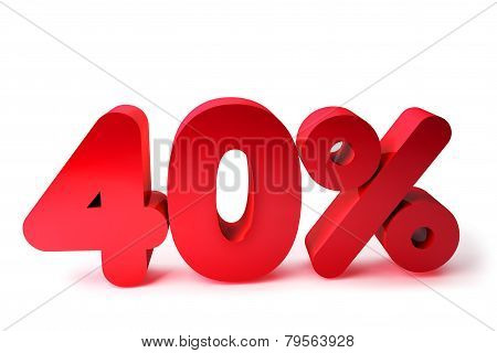 40% 3D Render Red Word Isolated in White Background