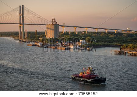 Pilot boat cruises at dusk on Savannah River