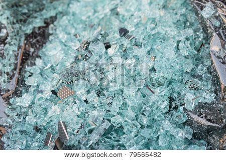 Shattered Glass Of Back Tempered Window Of A Car