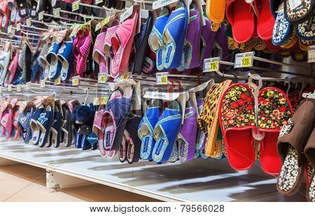 Different Slippers Ready To Sale At Showcase In New Hypermarket