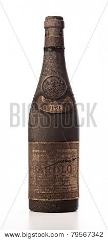 very old bootle of wine isolated on white
