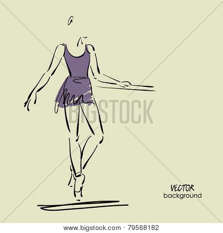 art sketch of beautiful young ballerina in class at ballet barre