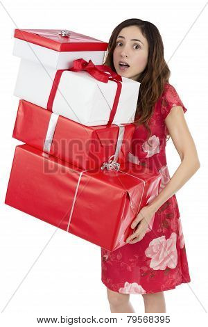 Valentines Day Woman Tired Of Carrying Heavy Gift Packages