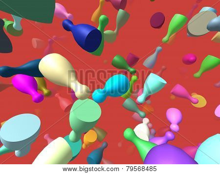 Flying Pieces Generated 3D Background
