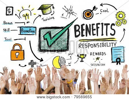 Benefits Gain Profit Earning Income Hands Volunteer Concept