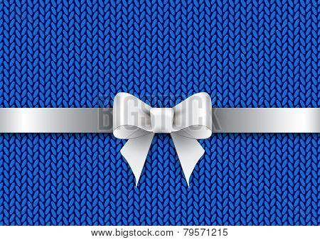 Bow On Knitted Background
